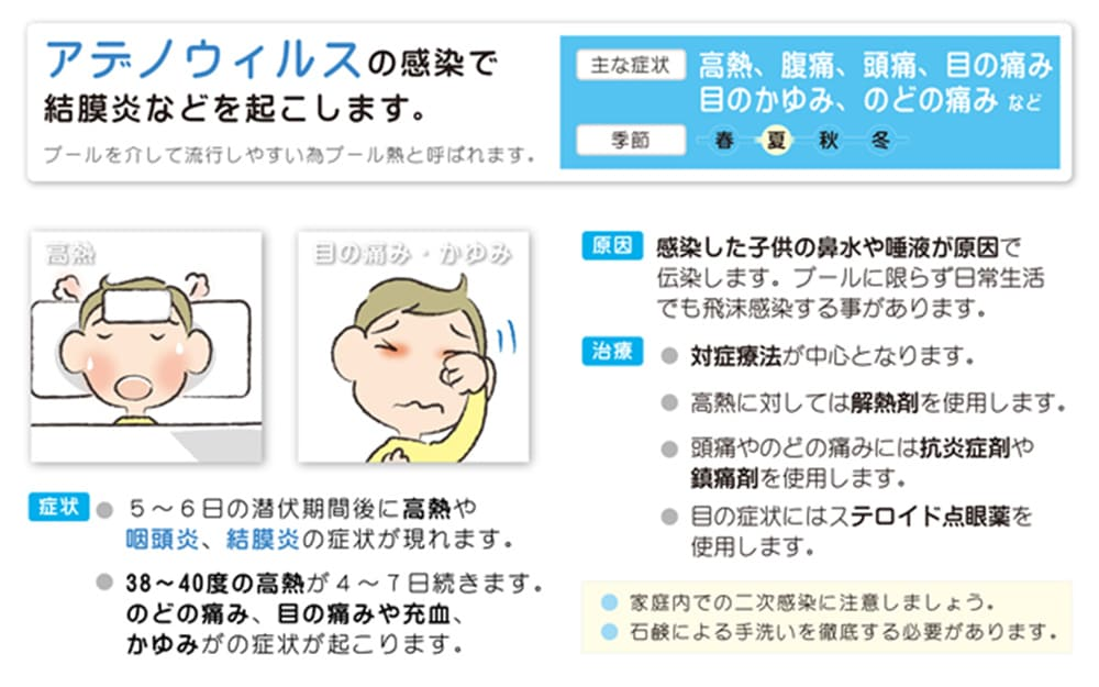 アデノウィルスの感染で結膜炎などを起こします。プールを介して流行しやすい為プール熱と呼ばれます。季節:夏 症状:5~6日の潜伏期間後に高熱や咽頭炎、結膜炎の症状が現れます。38~40度の高熱が4~7日続きます。のどの痛み、目の痛みや充血、かゆみの症状が起こります。 原因:感染した子供の鼻水や唾液が原因で伝染します。プールに限らず日常生活でも飛沫感染する事があります。 治療:対症療法が中心となります。高熱に対しては解熱剤を使用します。頭痛やのどの痛みには抗炎症剤や鎮痛剤を使用します。目の症状にはステロイド点眼薬を使用します。 家庭内での二次感染に注意しましょう。石鹸による手洗いを徹底する必要があります。